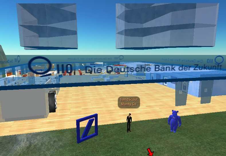 Monty Go in front of Q110 - Deutche Bank der Zukunft - in Second Life